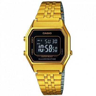 Casio LA680WEGA-1ER Ladies Digital Watch│Gold Plated│LED│Black Case│Clear Dial│