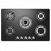 Cookology GGH770BK   77cm 5 Burner Gas-on-Glass Hob in Black & Cast-Iron Pan Stands