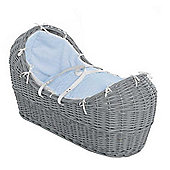 Isabella Alicia Grey Izzy-Pod Moses Basket (Dimple Blue)