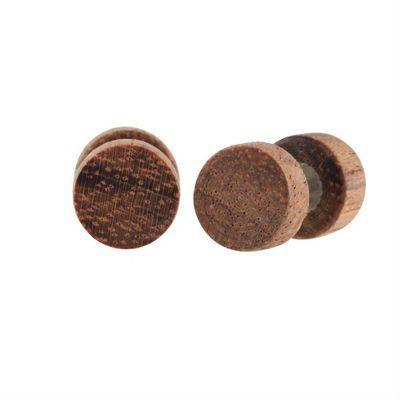 Urban Male 8mm Dark Brown Real Wood Round Men's Stud Earrings Fake Plug Design