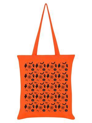 Trick Or Treat Spooky Symbols Tote Bag 38 x 42cm Orange