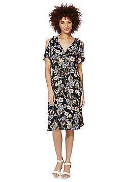 F&F Floral Print Cold Shoulder Midi Dress - Multi