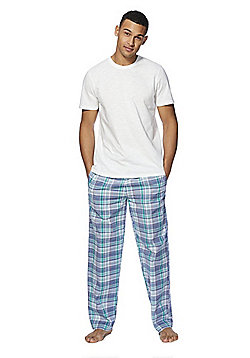 F&F Plaid Check Woven Loungewear Set - White & Green