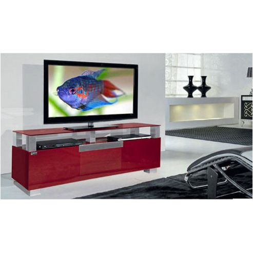 Triskom Wooden TV Stand for LCD / Plasmas with Three Shelves - Red Glass