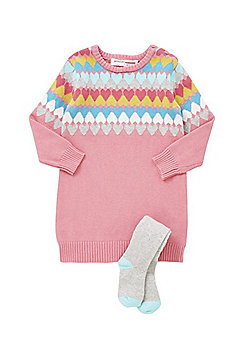 Minoti Heart Knit Jumper Dress and Knitted Tights Set - Pink