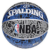 SPALDING NBA Graffiti Rubber Outdoor Basketball Blue Size 7