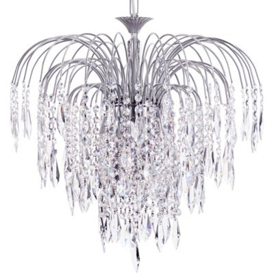 Litecraft Cascade 6 Bulb Ceiling Pendant with Crystal Droplets, Nickel