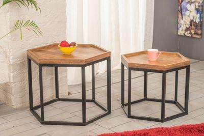 Java Hexagonal Nesting Table Duo Set Solid Acacia Wood