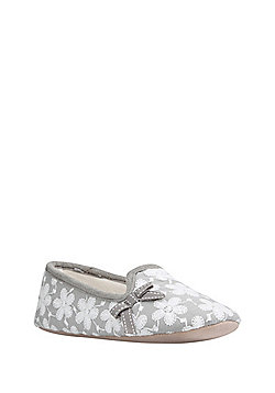 F&F Floral Embroidered Closed Back Slippers - Grey