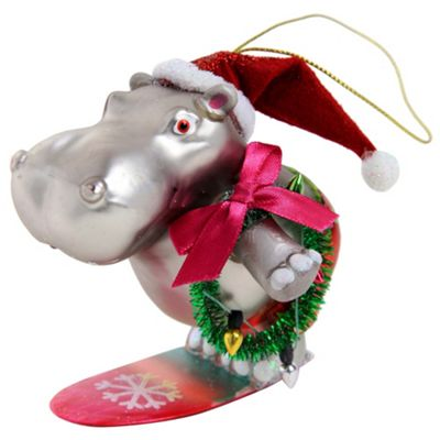 Novelty Glass Christmas Tree Bauble Decoration - Surfing Santa Hippo