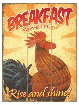 Breakfast Rise & Shine Wooden Wall Art 30x40cm