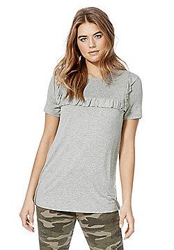 F&F Frill Trim Marl T-Shirt - Grey