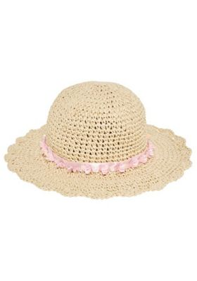 F&F Foldable Wide Brim Straw Hat Natural 3-6 years