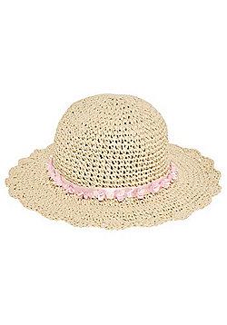 F&F Foldable Wide Brim Straw Hat - Natural