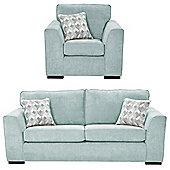 Boston Armchair + 3 Seater Sofa Set, Duck Egg