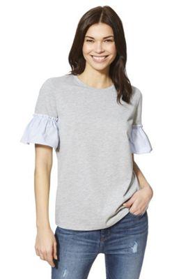 F&F Striped Poplin Sleeve T-Shirt Grey 8