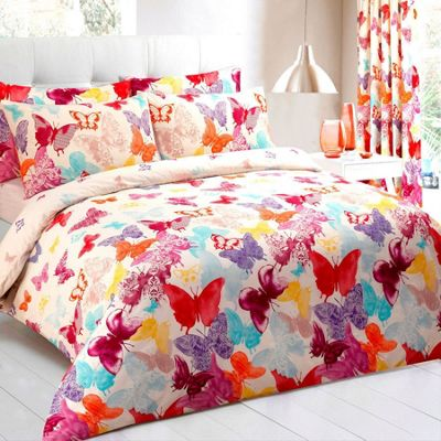 Multi Coloured, Cotton Rich Butterfly Double Duvet