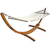 Charles Bentley Outdoor Hammock With Wooden Arc Stand - Cream