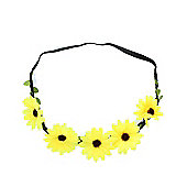 Yellow Daisy Elastic Headband Flower Garland