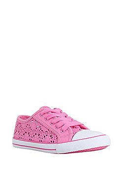 F&F Crochet Lace-Up Plimsolls - Pink