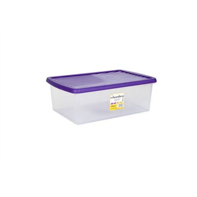 Wham 8.01 37L Underbed WhamBox & Lid Clear/Violet - Pack of 3