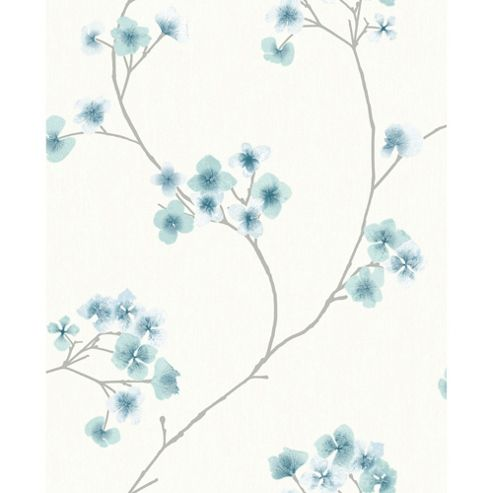 Superfresco Easy Radiance Paste The Wall Oriental Blossom Teal/White Wallpaper