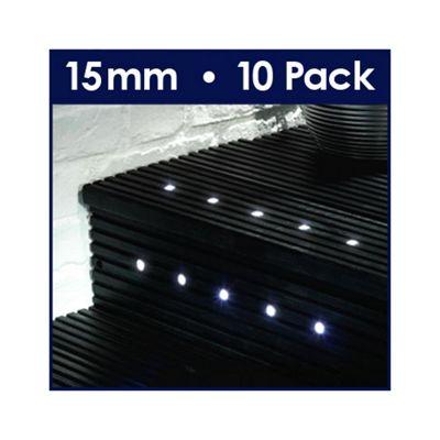 MiniSun Pack of Ten 15mm White LED Decking Lights