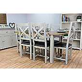 Wellington Painted Oak Grey Extending Dining Table & 4 Chairs Set
