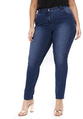 Evans Polka Dot Plus Size Skinny Jeans Indigo Wash 14