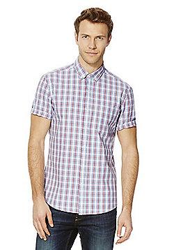 F&F Checked Short Sleeve Shirt - White