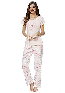 F&F Love Slogan Pyjamas - Pink
