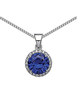 Rhodium Plated Sterling Silver Blue and White Round Brilliant Cubic Zirconia Halo Pendant Necklace 18 inch