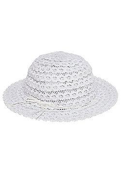 F&F Foldable Straw Sun Hat - White