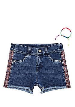 F&F Aztec Embroidered Denim Shorts with Bracelet - Denim