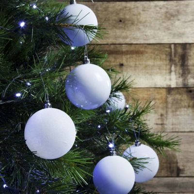 24pcs 8cm Shatterproof White Christmas Tree Bauble Decorations