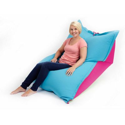 Loft 25 Large Water Resistant 2 Tone Bean Bag Slab - Pink / Turquoise