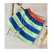 Big Fisch Boys Striped Swim Shorts | Royal & Lime - Royal blue