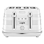DeLonghi-CTA4003W Avvolta 4 Slice Toaster with Browning Control and Removable Crumb Tray in White