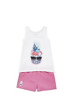 F&F Pineapple Print Pyjamas - White & Pink