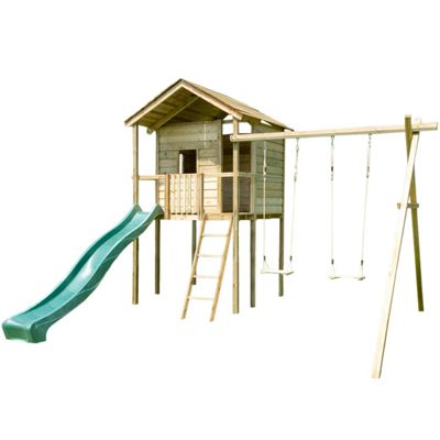 Buy Action Gate Lodge Wooden Climbing Frame Treehouse with Swing and ...