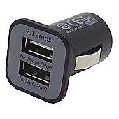 Dual Port USB Car Charger 5V 2.1A Black