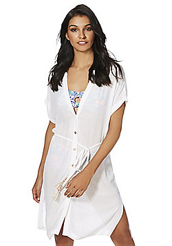 F&F Tie Waist Beach Shirt Dress - White