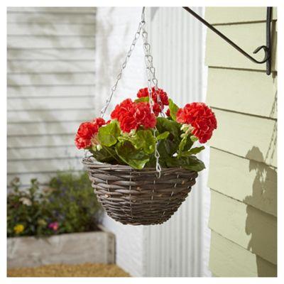 buy foliage artificial red geranium hanging basket from. Black Bedroom Furniture Sets. Home Design Ideas