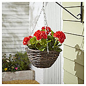 Foliage Artificial Red Geranium Hanging Basket