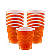 Orange Cups - 266ml Plastic Party Cups - 20 Pack