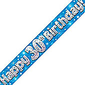 Oaktree Blue Holographic 30th Birthday Foil Banner - 9ft