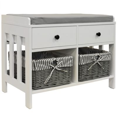 Double Storage / Shoe Storage Bench With Two Drawers And Baskets - White / Grey