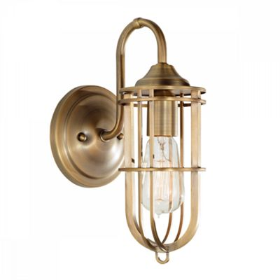 Dark Antique Brass 1lt Wall Light - 1 x 60W E27