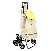 Metaltex 40 Litre Capacity 6-Wheel Poppy Kerb and Stair Climbing Shopping Trolley - Beige
