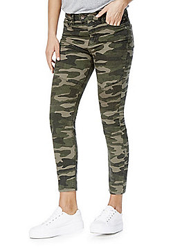 F&F Camouflage Biker Seam Ankle Grazer Mid Rise Skinny Leg Jeans - Green